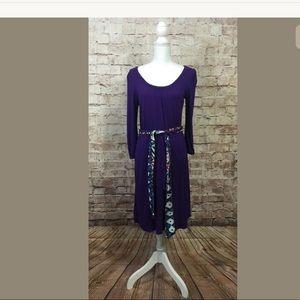 Old Navy Purple Dress M 3/4 Sleeve Tie Waist midi